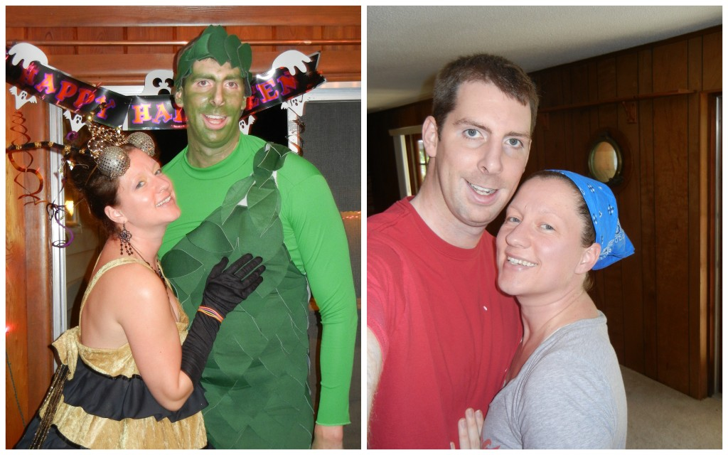 Left: Halloween 2011, Right: Beginning demo on our new house